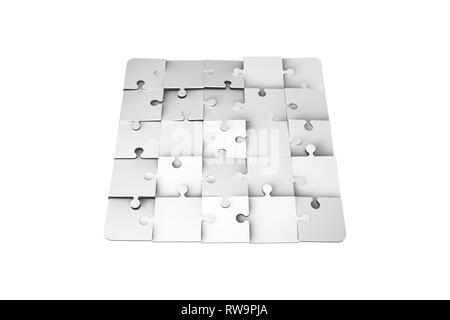 3d illustration and rendering of jigsaw puzzle pieces, isolated on white background. - Stock Photo