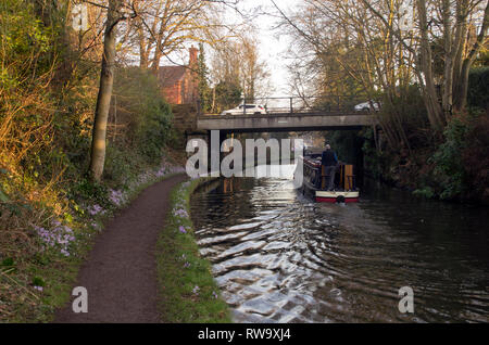 Narrow boat on the Bridgewater Canal, near Lymm Cheshire - Stock Photo