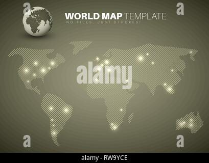World map template made from diagonal lines for your infographics reports - brown version - Stock Photo