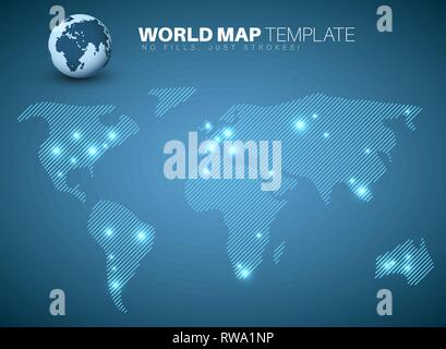 World map template made from diagonal lines for your infographics reports - Stock Photo