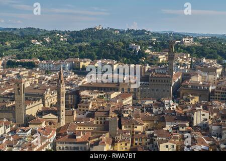 View from Florence Cathedral dome over the city, Florence, Tuscany, Italy - Stock Photo