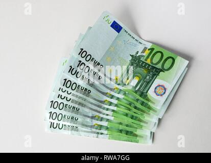 Stacks, compartments with 100 euro banknotes, Germany - Stock Photo