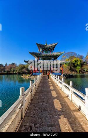Chinese Pagoda, Deyue Pavilion, Black Dragon Lake, Black Dragon Pool, Unesco World Heritage Site, Jade Spring Park , Lijiang - Stock Photo