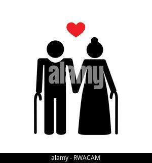 grandparents old couple pictogram vector illustration EPS10 - Stock Photo