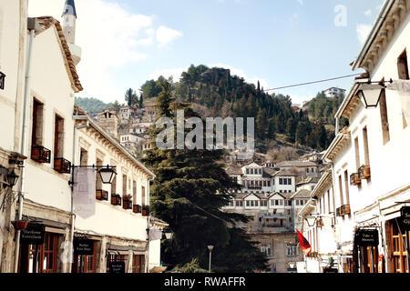 Gjirokaster, Albania - March, 2019: Downtown of UNESCO World Heritage site in of Albania, Old Ottoman Bazaar