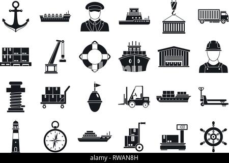 Marine port transport icons set. Simple set of marine port transport vector icons for web design on white background - Stock Photo