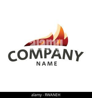 Fire Flame Logo design vector template drop silhouette - Stock Photo