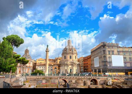 Panoramic view of Imperial Forum, Trajan's Column and Santa Maria di Loreto Church in Rome, Italy - Stock Photo
