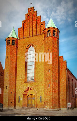 The church of Saint Vincent in the old town of Helsingor in Denmark. - Stock Photo