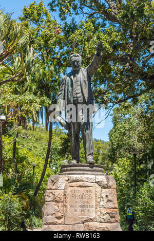 Statue of Cecil Rhodes in The Company's Garden, Cape Town, South Africa - Stock Photo
