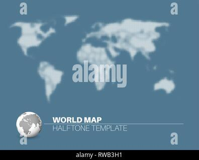 World map with halftone effect - template made from dots for your infographics reports - light version - Stock Photo