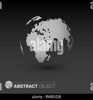 World map globe template made from dots for your infographics reports - dark version - Stock Photo