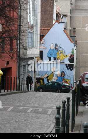 The Comic Strip Trail In Brussels, Belgium - Stock Photo