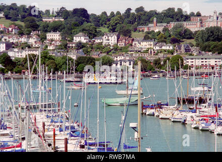 Yachts at Dartmouth, Devon in England - Stock Photo
