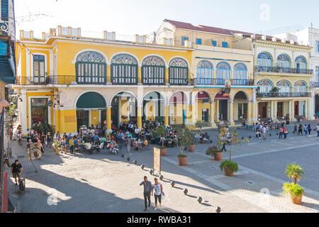 HAVANA, CUBA - JANUARY 16, 2017: The historic Old Square or Plaza Vieja in the colonial neighborhood of Old Havana - Stock Photo