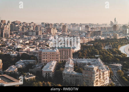 Baku, Azerbaijan - 18th September 2017: View of city in the morning.Beautiful city view from the high park in the morning. - Stock Photo