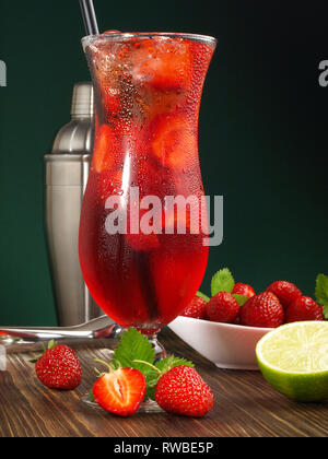 Strawberry Cocktail in a Hurricane Glass - Stock Photo