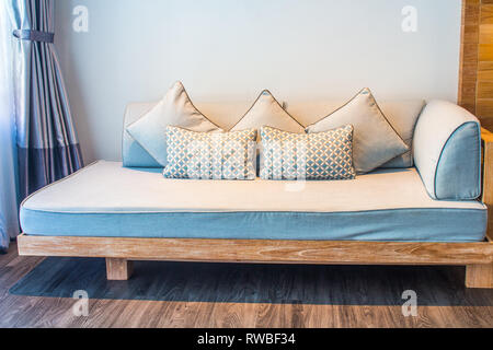 White stylish minimalist room with sofa. Parquet wood interior design - Stock Photo