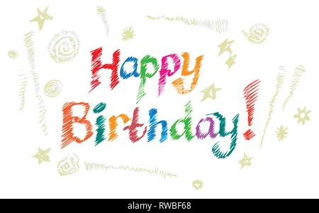 Lettering. Happy Birthday Hand-drawn card. Vector illustration - Stock Photo