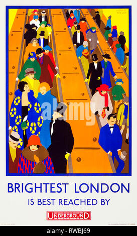 Art Deco London Underground Poster - Brightest London is best reached by Underground, 1924, Horace Taylor - Stock Photo