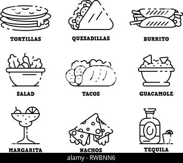 Mexican food icons set, outline style - Stock Photo