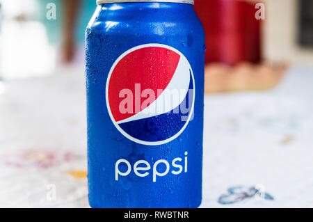 Close up Pepsi can on a table - Stock Photo