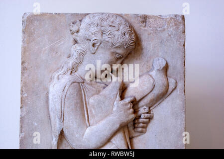 Detail of a Greek marble grave stele of a little girl, The Metropolitan Museum of Art, Manhattan, New York USA - Stock Photo