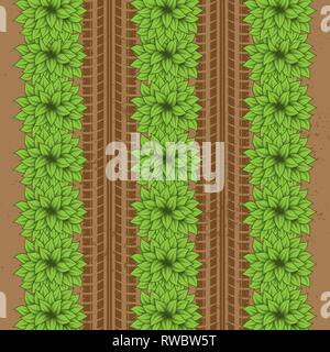 Brown ground background with green bushes and tire tracks - Stock Photo