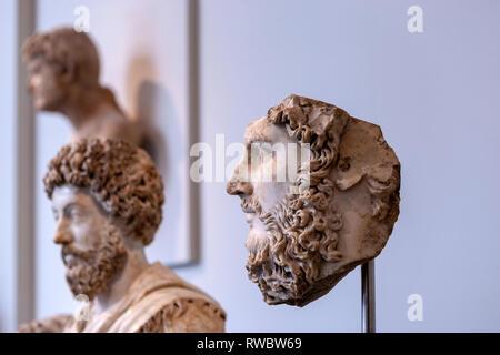 Roman Portraits: Sculptures in Stone, The Metropolitan Museum of Art, Manhattan, New York USA - Stock Photo