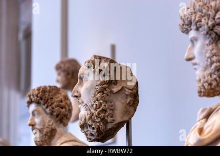 Marble portrait of the co-emperor Lucius Verus, Roman Portraits: Sculptures in Stone, The Metropolitan Museum of Art, Manhattan, New York USA - Stock Photo