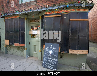 Ashbourne, UK. 5th Mar, 2019. Royal Shrovetide Football, day 1; A local Ashbourne shop with a fully boarded up shop front selling Uppards and Downards Pork Pies before the football match Credit: Action Plus Sports/Alamy Live News - Stock Photo
