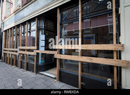 Ashbourne, UK. 5th Mar, 2019. Royal Shrovetide Football, day 1; A local Ashbourne shop with a fully boarded before the annual Shrovetide Football match Credit: Action Plus Sports/Alamy Live News - Stock Photo
