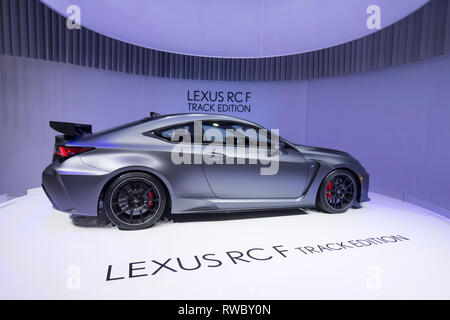 Geneva, Switzerland. 5th Mar, 2019. A Lexus RC F Track Edition is seen on the first press day of the 89th Geneva International Motor Show in Geneva, Switzerland, on March 5, 2019. Featuring about 220 world exhibitors, the 89th Geneva International Motor Show will be opened to the public from March 7 to 17. Credit: Xu Jinquan/Xinhua/Alamy Live News - Stock Photo