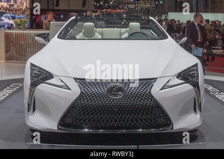 Geneva, Switzerland. 5nd March, 2019.  The new Lexus Lc Convertible Concept  presented at the press days of the 89th Geneva International Motor Show. Credit: Eric Dubost/Alamy Live News - Stock Photo