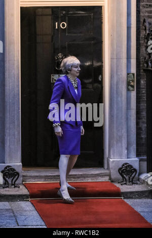 Downing Street, Westminster, London, UK. 5th Mar, 2019. British Prime Minister Theresa May welcomes Cypriot President Nicos Anastasiades in Downing Street for talks. Credit: Imageplotter/Alamy Live News - Stock Photo