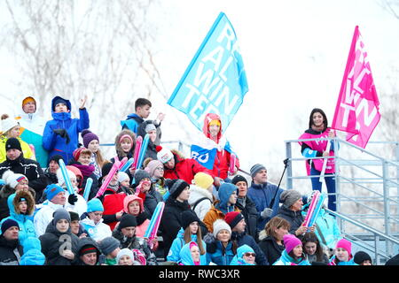 Sopka Cluster, Krasnoyarsk, Russia. 5th Mar, 2019. General view, MARCH 5, 2019 - Snowboarding : Parallel Giant Slalom during 29th Winter Universiade Krasnoyarsk 2019 at Sopka Cluster, Krasnoyarsk, Russia. Credit: Naoki Nishimura/AFLO SPORT/Alamy Live News - Stock Photo