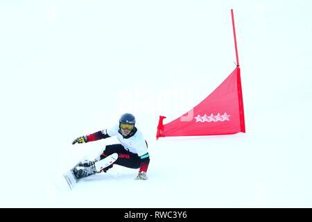 Sopka Cluster, Krasnoyarsk, Russia. 5th Mar, 2019. Hiroya Toda (JPN), MARCH 5, 2019 - Snowboarding : Men's Parallel Giant Slalom during 29th Winter Universiade Krasnoyarsk 2019 at Sopka Cluster, Krasnoyarsk, Russia. Credit: Naoki Nishimura/AFLO SPORT/Alamy Live News - Stock Photo