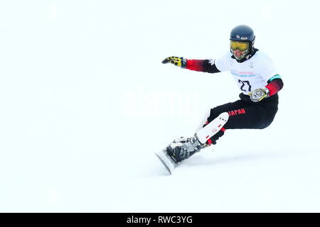 Sopka Cluster, Krasnoyarsk, Russia. 5th Mar, 2019. Hiroya Toda (JPN), MARCH 5, 2019 - Snowboarding : Men's Parallel Giant Slalom during 29th Winter Universiade Krasnoyarsk 2019 at Sopka Cluster, Krasnoyarsk, Russia. Credit: Naoki Nishimura/AFLO SPORT/Alamy Live News - Stock Photo