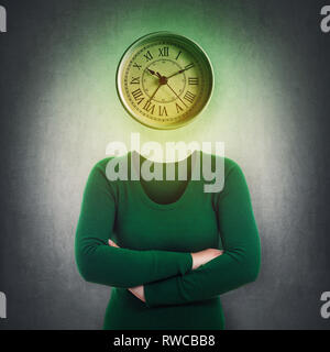 Surreal image headless anonymous woman with mystic clock instead her head over grey wall background. Emotional concept of time in educational process. - Stock Photo