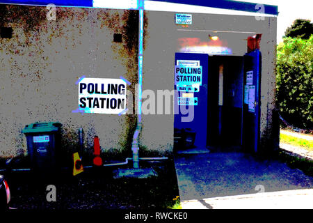 posterised,polling,station,scout,hut,cowes,Isle of Wight, England, UK, - Stock Photo