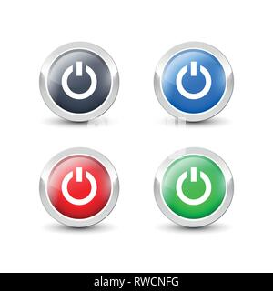 Round power buttons with metallic silver border. Vector start button icons isolated on white background. - Stock Photo