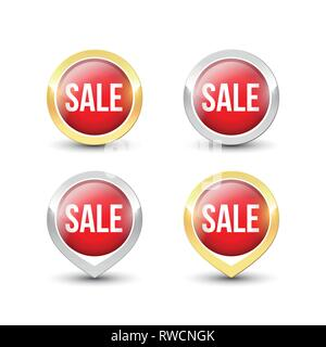 Red round SALE buttons and pointers with metallic gold and silver border. Vector label icons isolated on white background. - Stock Photo