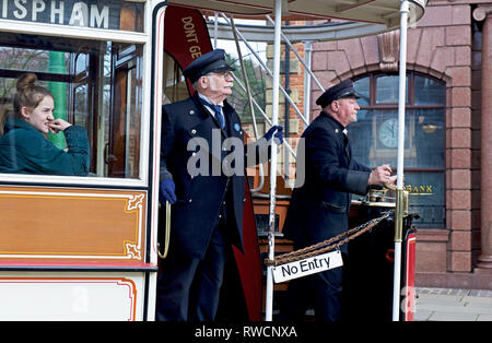 Tram at Beamish Museum, Co Durham, England UK - Stock Photo