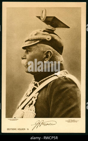 Count Ferdinand von Zeppelin (1838-1917) with the uniform of the Uhlan Regiment of Stuttgart, portrait of the Royal Photograph Kühlewindt, postcard around 1915?, published by Gustav Liersch, Berlin, Additional-Rights-Clearance-Info-Not-Available - Stock Photo