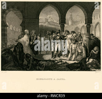 Jaffa, Napoleon visiting the plague victims in Jaffa, steel engraving by Lefevre after Gros, around 1830., Artist's Copyright has not to be cleared - Stock Photo