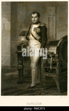 Napoleon Bonaparte, French statesman and Emperor, steel engraving around 1850th, Artist's Copyright has not to be cleared - Stock Photo