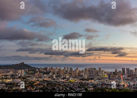 A high view of Honolulu from Tantalus drive lookout. Stock Photo