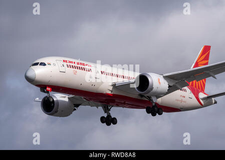 Air India Boeing 787 Dreamliner jet plane airliner VT-ANW landing at London Heathrow Airport, UK. Space for copy - Stock Photo