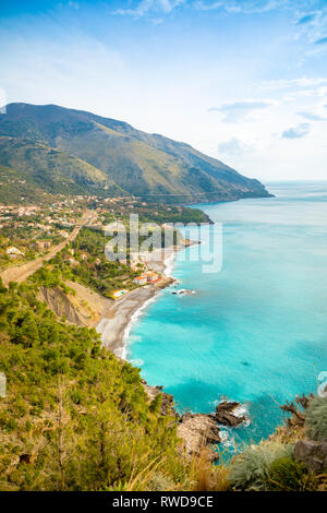 Aerial view of Acquafredda village on coast sud in winter, Italy - Stock Photo