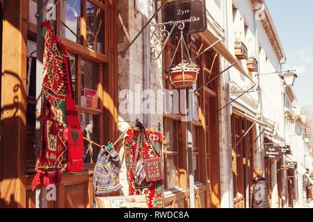 Gjirokaster, Albania - March, 2019: Downtown of Gjirokaster, a UNESCO World Heritage site in Albania, Old Ottoman Bazaar